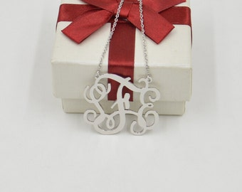 "Monogram necklace Sterling silver-personalized 1.25"" monogram initial necklace,Valentine's gift"
