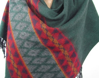 Blanket Scarf Tribal Scarf Aztec Scarf Green Red Scarf Shawl Winter Scarf Women Fashion Accessories Holiday Christmas Gift For Her For Women