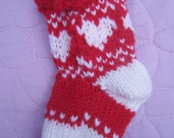 Red heart mini stocking, Handknit mini stocking, Christmas stocking, Red white stocking, Patterned stocking, Stocking decoration, Tree decor