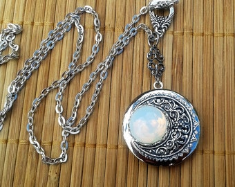 Lunette - Moon inspired silver locket with vintage glass moon stone - lunar crescent moon necklace