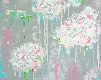 nursery art -abstract floral painting - flower painting