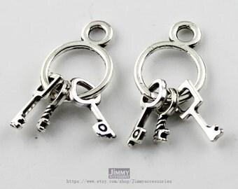 10pcs 13x24mm Cute Antique Silver Keys Charm Pendant