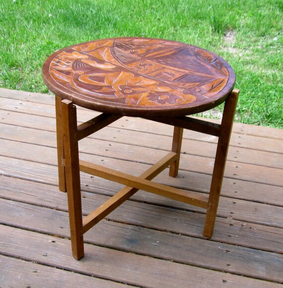 Wood accent end table small folding two double sided design