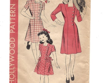 1940s Hollywood Pattern #1510, Girls' Dress, Side Button Close, Collarless Square Neckline, Ruffle Option, Vintage Pattern, Size 8 Breast 26