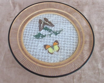 Vintage Round Bamboo Serving Tray Butterflies Under Glass, Jet line Japan