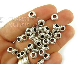 15 pc Saucer Spacer Beads, Tibetan Silver Spacer Beads, Antique Silver Plated Bali Style Bead Spacer, Tribal Jewelry75