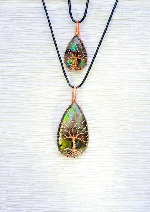 Mother / Daughter necklace set Tree of Life wire wrapped Natural Labradorite stone pendants