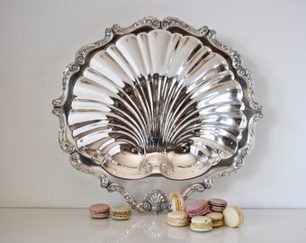 Large Silver Shell Serving Dish English Silver Mfg Corp