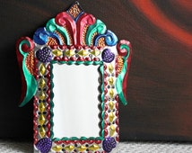 Mirror. Mexican Art Tin Frame over Small Mirror. Hand Hammered, Painted with Ink Tin Frame. Ready for Hanging  Mirror in Tin Frame.