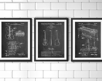 Fender Guitar Patent Posters Group of 3, Electric Guitar, Guitar Teacher Gift, Music Room Decor, Guitar Player, Guitar Art, PP1154