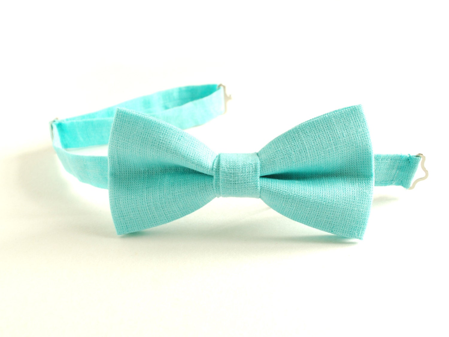 aqua bow tie pale turquoise linen bow tie adjustable by