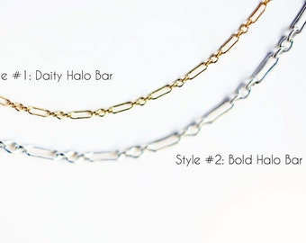 Dainty Halo Bar Chain Choker Necklace