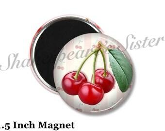 Cherry Kitchen - Fridge Magnet - Red Magnet - 1.5 Inch Magnet - Kitchen Magnet - Red Cherries