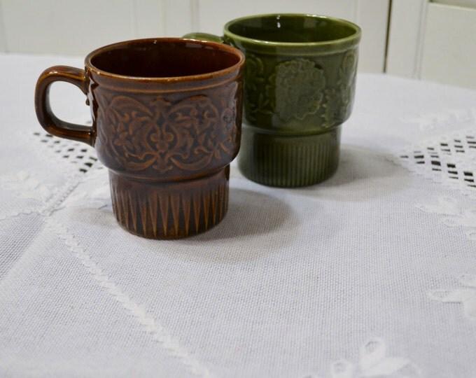 Vintage Stacking Coffee Mug Set of 2 Brown Green Bohemian Design Retro Coffee Tea Cup Made in Japan PanchosPorch