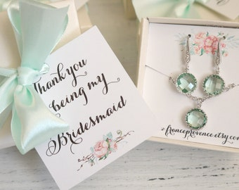 Bridesmaid jewelry SET of 6 Bridesmaids Silver Earrings and Necklaces Wedding Set Bridesmaids Set Jewelry Set Wedding Jewelry