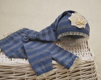 Newborn Pants & Sleepy Hat; Newborn Girl Outfit Prop; Lavender Blue; Newborn Pants Prop; Knot Hat; Newborn Photo Prop
