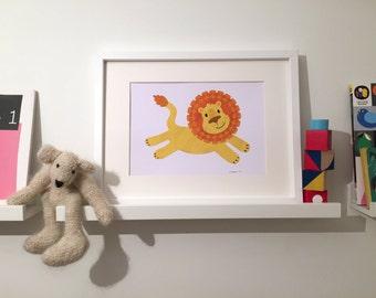 Running Lion print