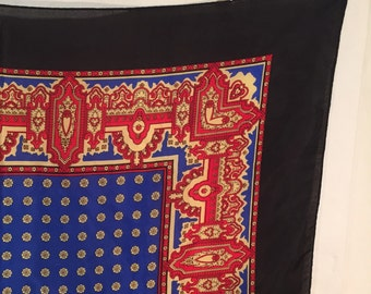 Vintage Silk Scarf Paisley Foulard Square Black Royal Blue Red Gold Floral Eighties 80s Career Work