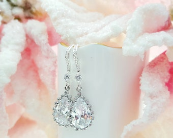 Crystal Bridal Earrings, Cubic Zirconia Teardrops, Silver Wedding Jewelry, Bridesmaid Earrings, For Maid of Honor, Dainty and Sparkly, E2014