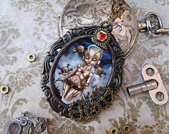 Steampunk jewelry, steampunk necklace, steampunk pendant, robot pendant, robot steampunk, Metrópolis robot, original art, big eyes art