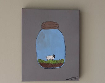 a little sheep in a jar