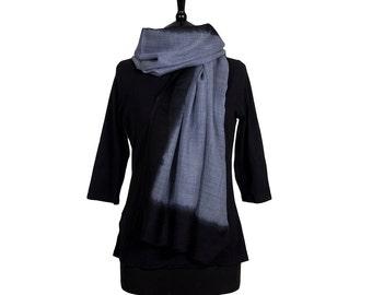 MERINO WOOL SCARF - Fine Bluey Grey Scarf with Black Border