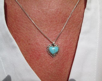 Ornate Turquoise and Sterling Silver Heart Necklace