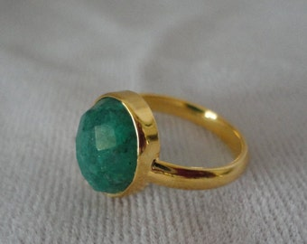 Gorgeous Faceted Emerald Gold Filed Ring*****