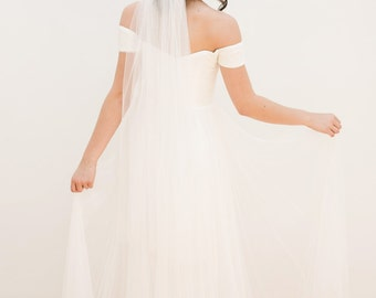 wedding veil, bridal veil, english net veil, chapel veil, ivory veil, cathedral veil, fingertip veil, bohemian veil, white veil - ISABELLE