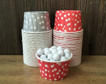 Silver and Red Paper Snack Cups - Set of 48 - Polka Dot Candy Cup - Holiday Party - Mini Ice Cream Cup - Paper Nut Cup - Same Day Shipping