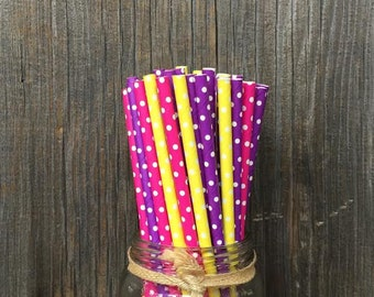 75 Yellow, Purple and Hot  Pink Polka Dot Paper Straws - Birthday Party- Baby Shower- Picnic Supply- Free Shipping!