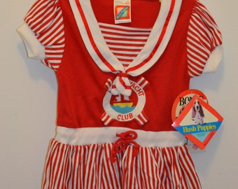 NWT 90s Hush Puppies dress red nautical outfit yacht club sailor girls boat ship live preserver toddler baby child navy saver