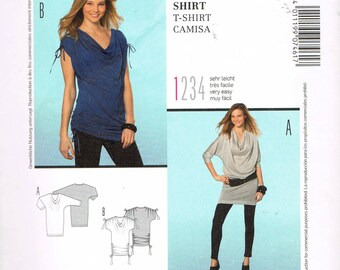 Size 6-18 Misses' Easy Top Sewing Pattern - Drape Neck Bat Wing Sleeve Tunic Top Pattern - Rutched Sleeve Top Pattern - Burda 7461