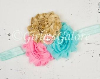 Baby Headband, Baby headbands, Newborn Headband, Pink Aqua Gold Flower baby Headband, Baby girl Headband, Shabby chic headband,