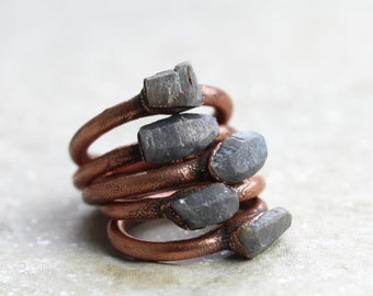 Raw Sapphire Ring Electroformed Copper Ring Stone Ring Natural Stone Virgo Birthstone Delicate Ring Virgo Jewelry