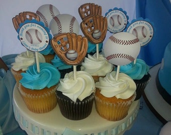 Baseball Cupcake Topper / die cut / sport party decoration