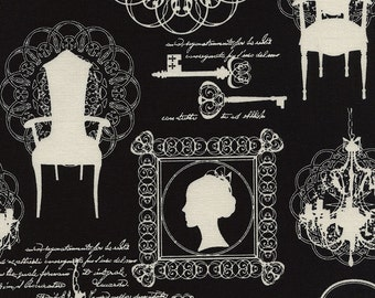 Victorian fabric, Queen Anne Chair - Cameo Silhouette from Fashion Sense - Timeless Treasures C4791 black - Fat Quarter & Yardage