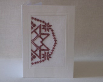 Quaker Medallion cross stitch card (FREE Postage in UK)