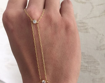 Delicate Gold Slave Bracelet Bridal Body jewelry Bridal Jewelry Hand Bracelet Bridesmaid Bracelet Gift Bridal Wedding Jewelry Gift for Her