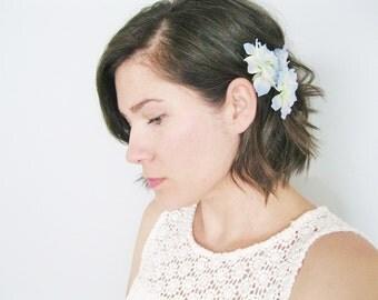 Blue Flower Hair Clip | Boho Flower Clip | Bridal Hair Pin | Hair Pins Wedding Headpiece | Flower Hair Pin Set of 3