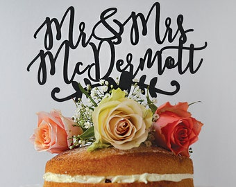 Mr & Mrs Personalised Paper Wedding Cake Topper