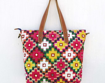 Multicolor ikat tote bag, ethnic,bohemian, cotton with leather, embroidered,12X16 inches