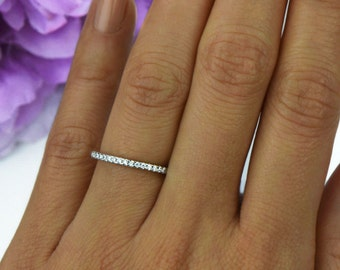 Small Half Eternity Ring, 1.5mm Wedding Band, Engagement Ring, Man Made Diamond Simulants, Bridal Ring, Round Wedding Band, Sterling Silver