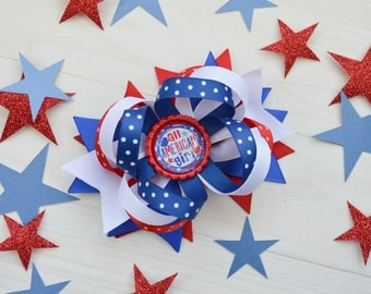 Fourth of July bow, 4th of July hair bow for girls, OTT patriotic hairbow, Memorial day bow