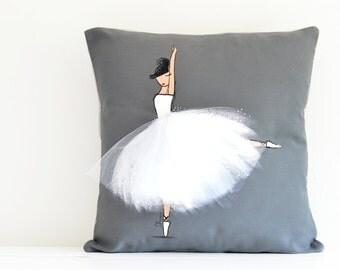 Accent Pillow, Ballerina, Cushion Cover, Handpainted (Ballerina Pillow Cover GREY)