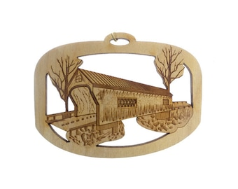 Covered Bridge Ornament - Covered Bridge Gifts - Covered Bridge Gift Topper - Covered Bridge Ornaments - Personalized Free