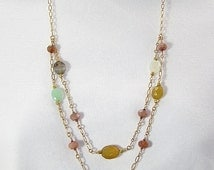 Chain and colorful gemstones necklace, multi colored gems, gold chain jewelry, double strand, wire wrapped, layered look, semi precious gems