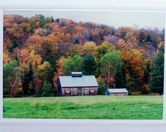 Sugar house, Vermont photo, blank greeting card, wood barn, fall foliage, 5x7 photo notecard, New England, maple syrup, rustic buildings