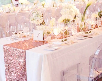 Fall Wedding 5ft Table Decor Rose Gold Sequin Table Runner for Wedding Table Decor Sparke Table Linens for Events Thanksgiving READY TO SHIP