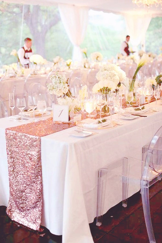 Fall wedding 5ft table decor rose gold sequin table runner for for Decoration rose gold